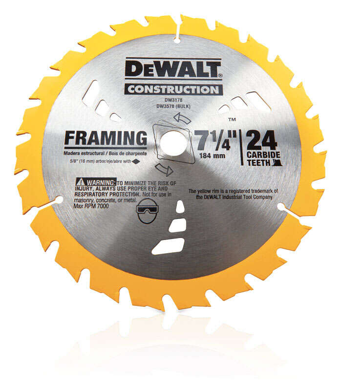 DeWalt  0.045 in.  7-1/4  Carbide Tip  Construction  5/8  24 teeth Circular Saw Blade