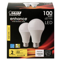 FEIT Electric  Enhance  A19  E26 (Medium)  LED Bulb  Bright White  100 Watt Equivalence 2 pk