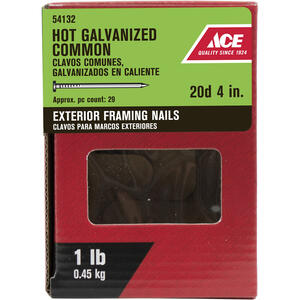 Ace  20D  4 in. L Common  Hot-Dipped Galvanized  Steel  Nail  Smooth Shank  Flat  1 lb.