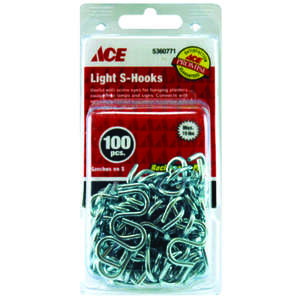 Ace  Medium  Zinc Plated  Steel  1 in. L S-Hook  100 pk 15 lb. Silver