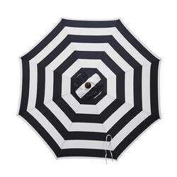 Living Accents 9 ft. Tiltable Navy White Stripe Market Umbrella