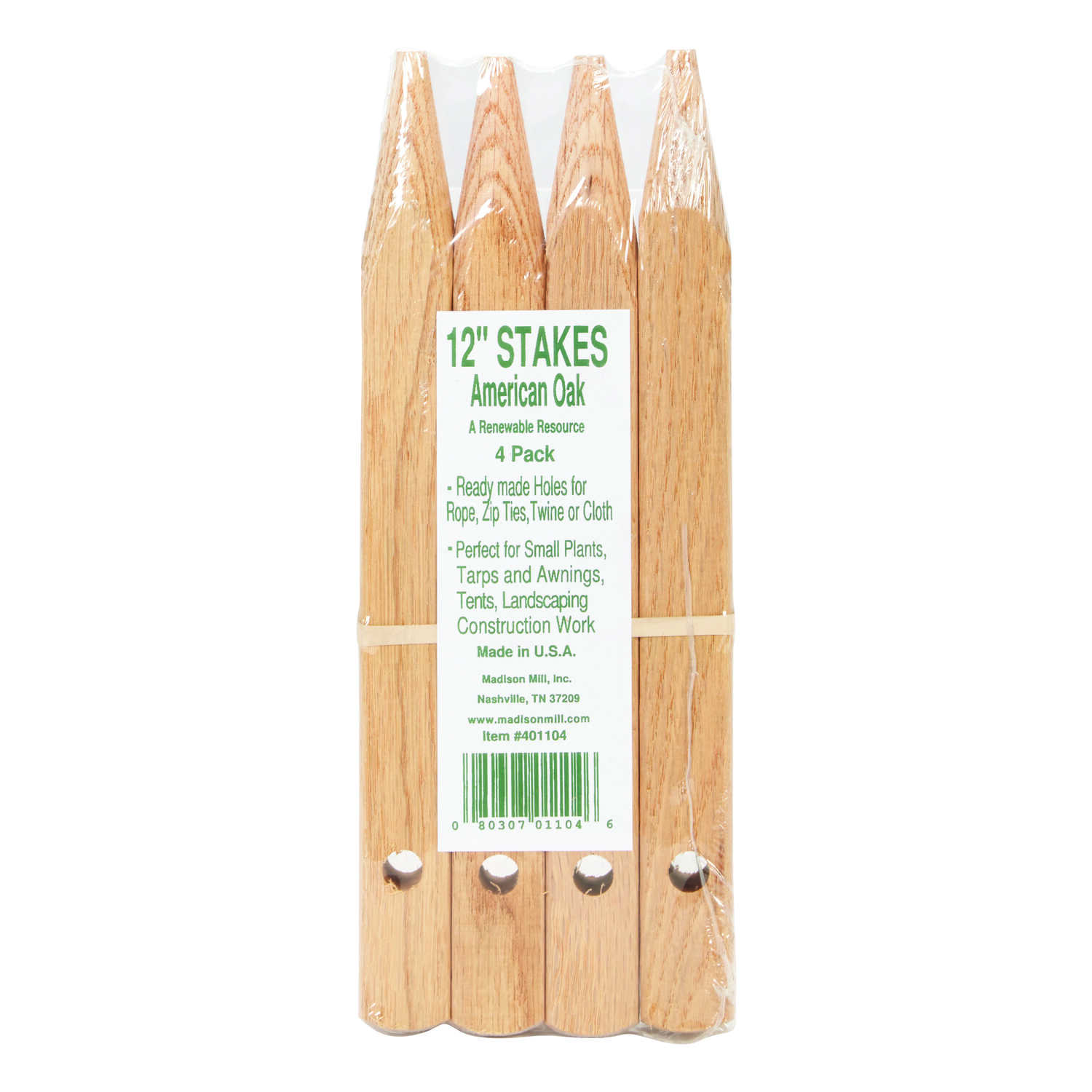 Madison Mill  12 in. H x 0.9 in. W Oak  Landscaping Stakes  4 pk