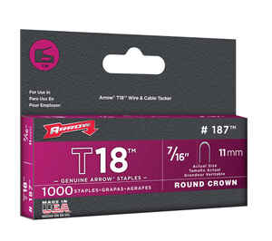 Arrow Fastener  T18  7/16 in. L x 3/16 in. W Round Crown  Wire Staples  1000 pk
