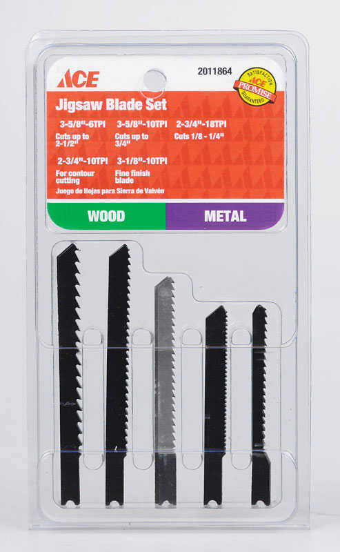 Ace  Metal  Jig Saw Blade Set  5 pk U-Shank