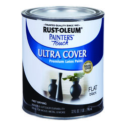 Rust-Oleum  Painters Touch  Flat  Black  Water-Based  Paint  Exterior and Interior  190 g/L 1 qt.
