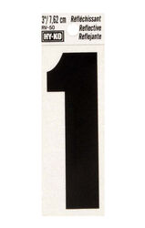 Hy-Ko 3 in. Reflective Black Vinyl Self-Adhesive Number 1 1 pc.