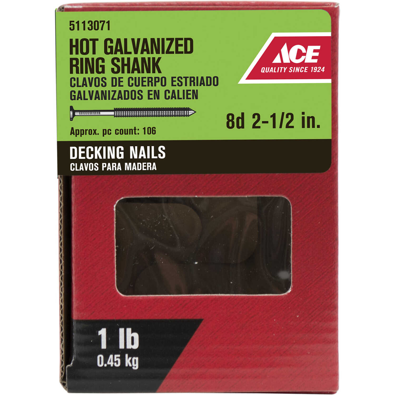 Ace  8D  2-1/2 in. L Deck  Steel  Nail  Flat Head Annular Ring Shank  106 pk 1 lb.
