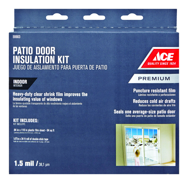 Ace  Clear  84 in. L x 18 in.  Patio Door Insulation Kit  Plastic  For Air Conditioner