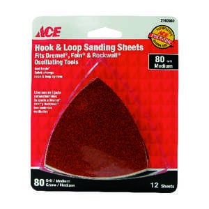 Ace  3 in. L x 3 in. W 80 Grit Medium  Aluminum Oxide  Detail Sanding Triangle  12 pk