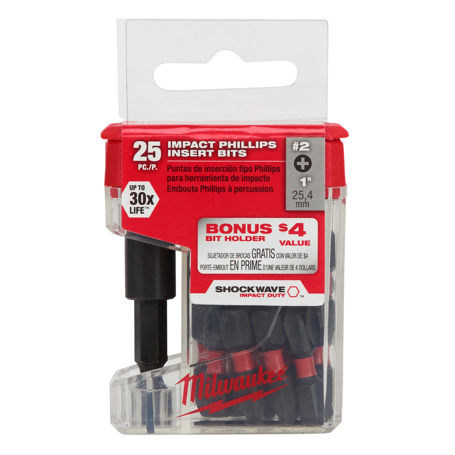 Milwaukee  SHOCKWAVE  Phillips  #2   x 1 in. L Impact Insert Bit and Bit Holder Set  Steel  26 pc.