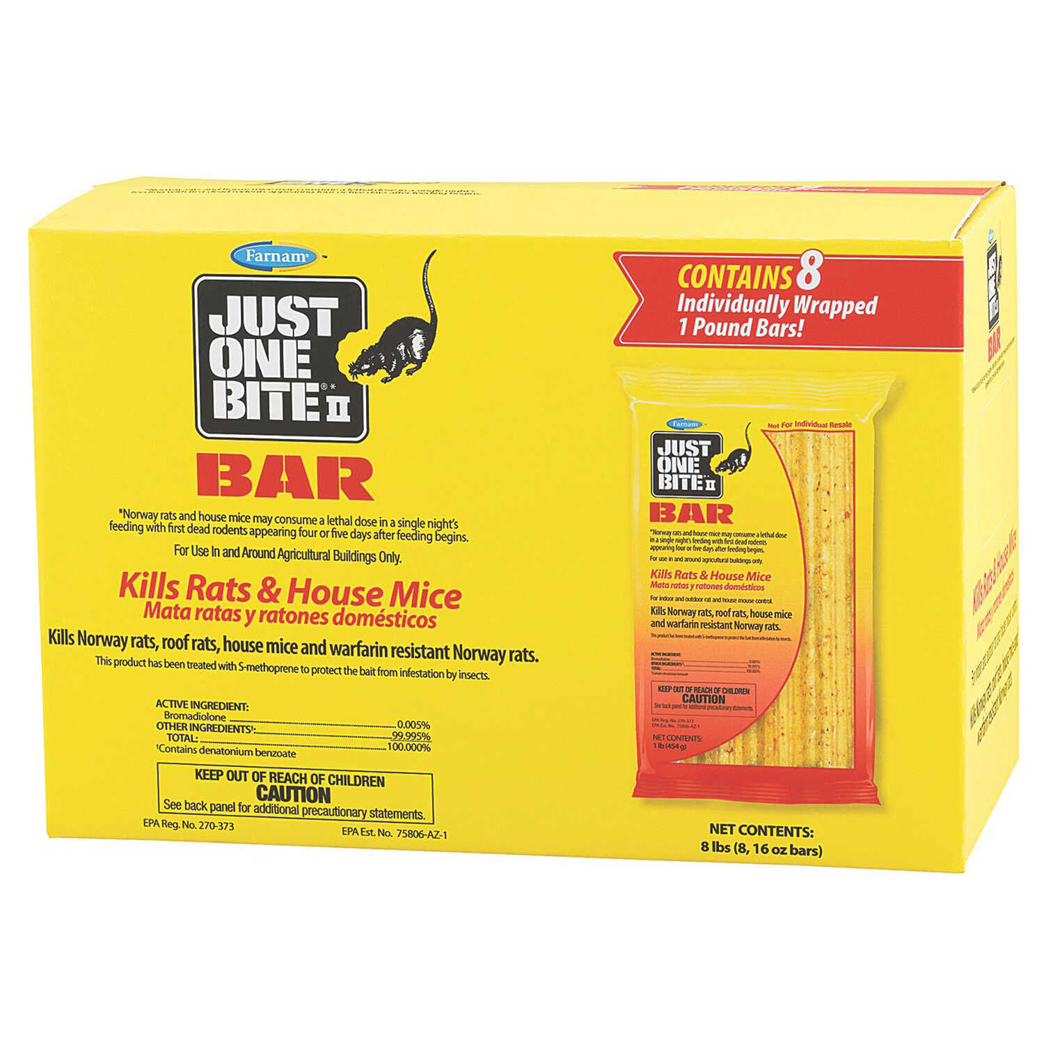 Farnam  Just One Bite II  Small  Rodent Bait Bar  For Rats & Mice 8 pk