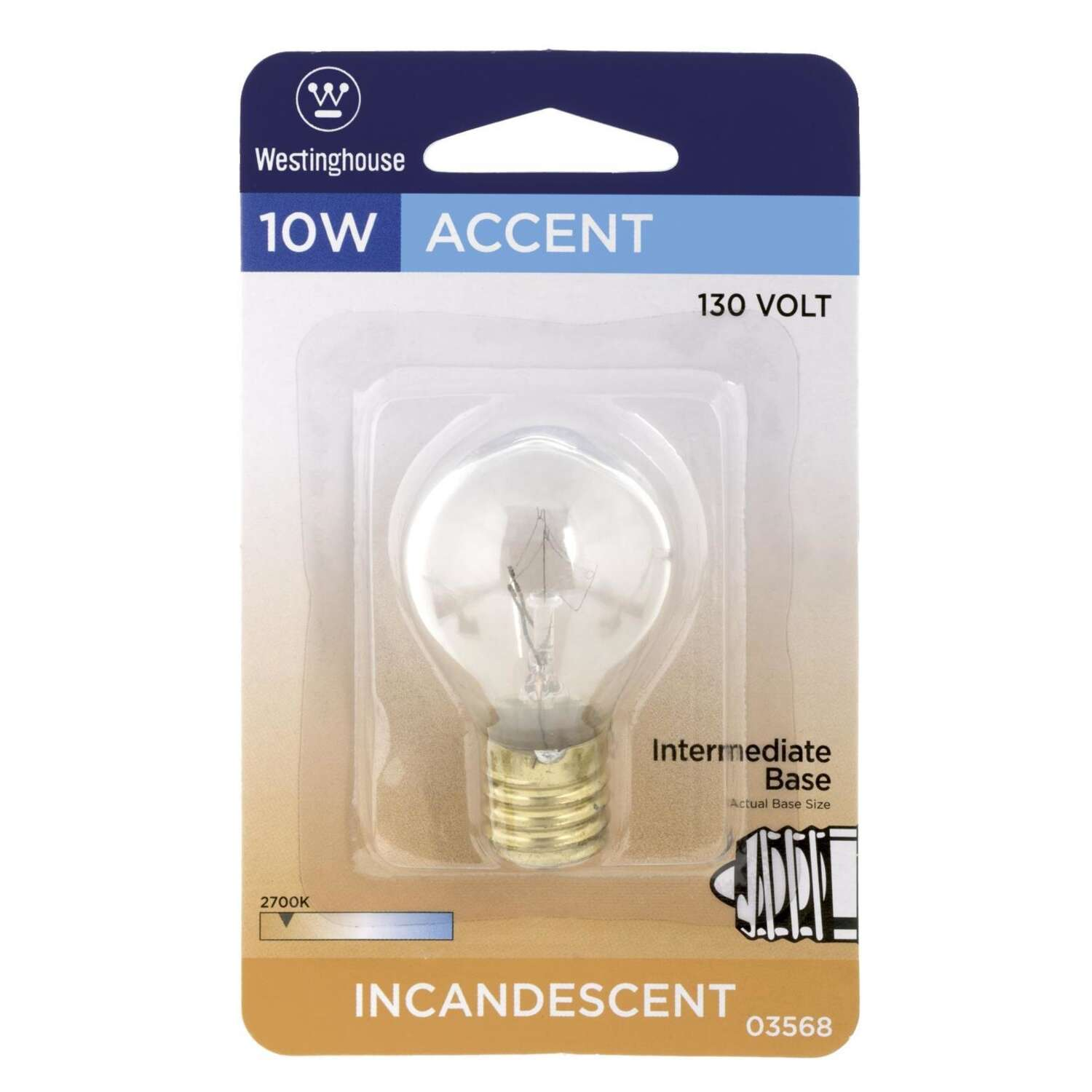 Westinghouse  10 watts S11  Incandescent Bulb  80 lumens White  1 pk Speciality