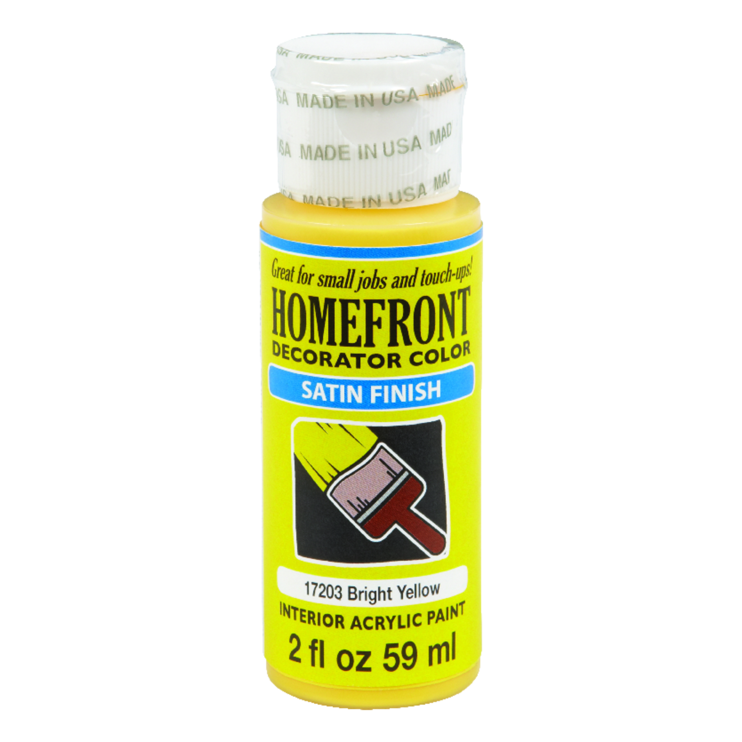 Homefront  Decorator Color  Satin  Paint  Bright Yellow  2 oz. Acrylic Latex