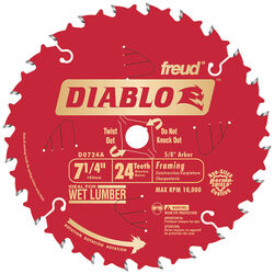 Diablo  7-1/4 in. Dia. x 5/8 in.  Carbide Tip Titanium  Framing Blade  24 teeth 1 pc.