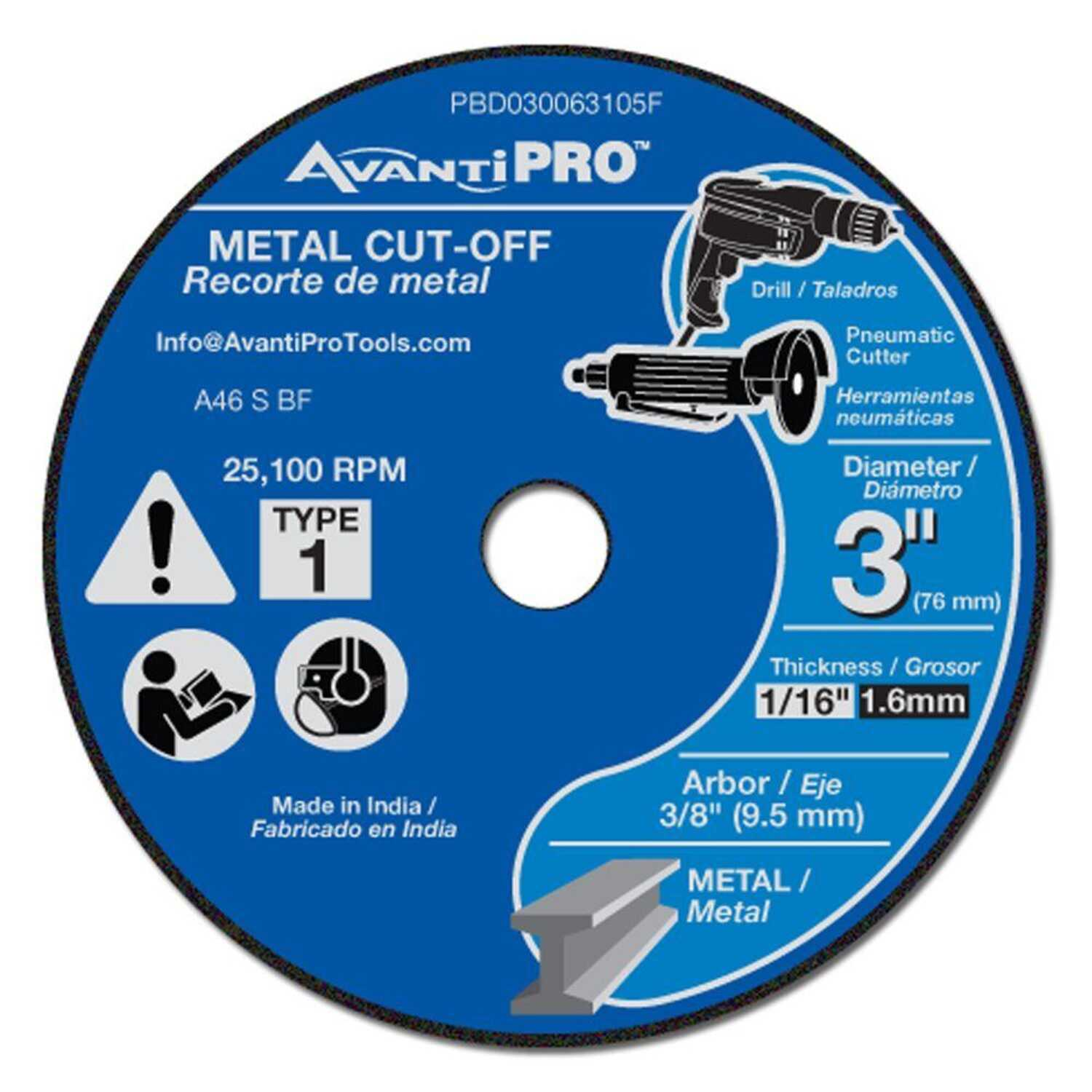 Avanti Pro  3 in. Aluminum Oxide  Metal Cut-Off Disc  1/16 in.  x 3/8 in.   1 pk