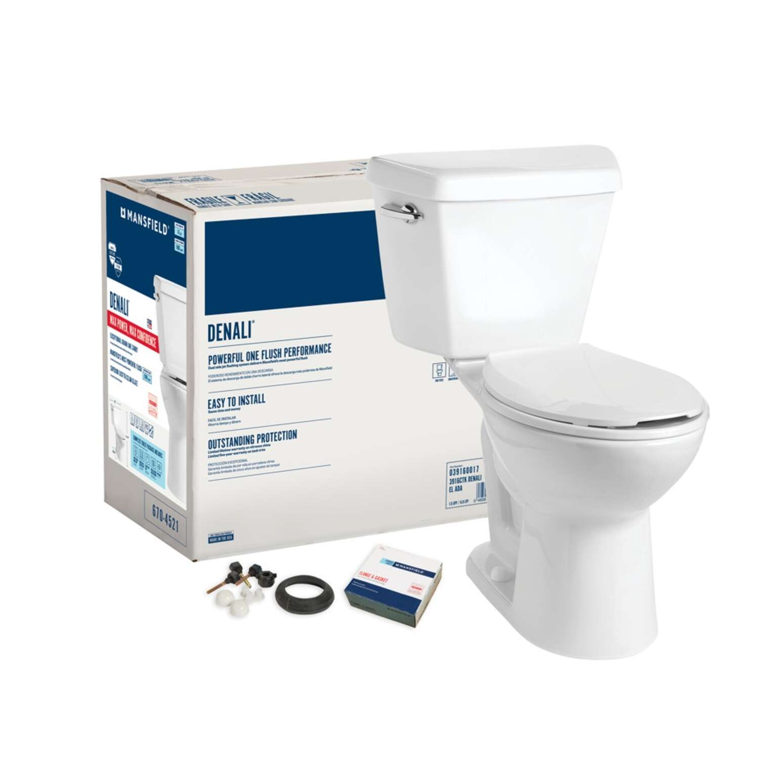 Mansfield  Denali  ADA Compliant 1.6 gal. White  Elongated  Complete Toilet