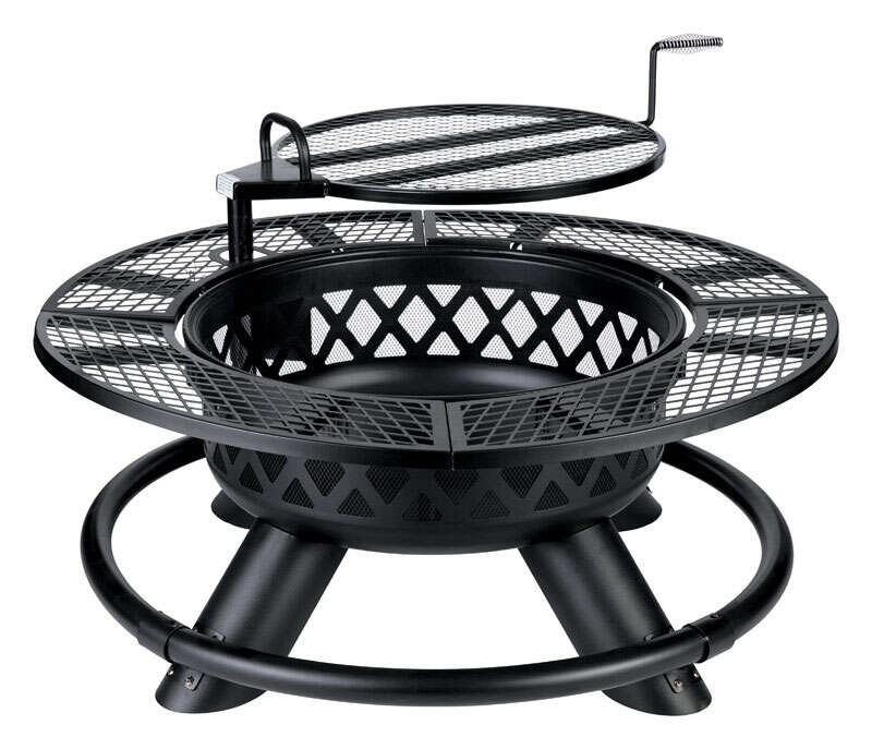 Living Accents  Ranch  Wood  Fire Pit/Grill  26 in. H x 47 in. D x 47 in. W Steel