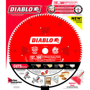 Diablo  12 in. Dia. x 1 in.  Circular Saw Blade  100 teeth 1 pk