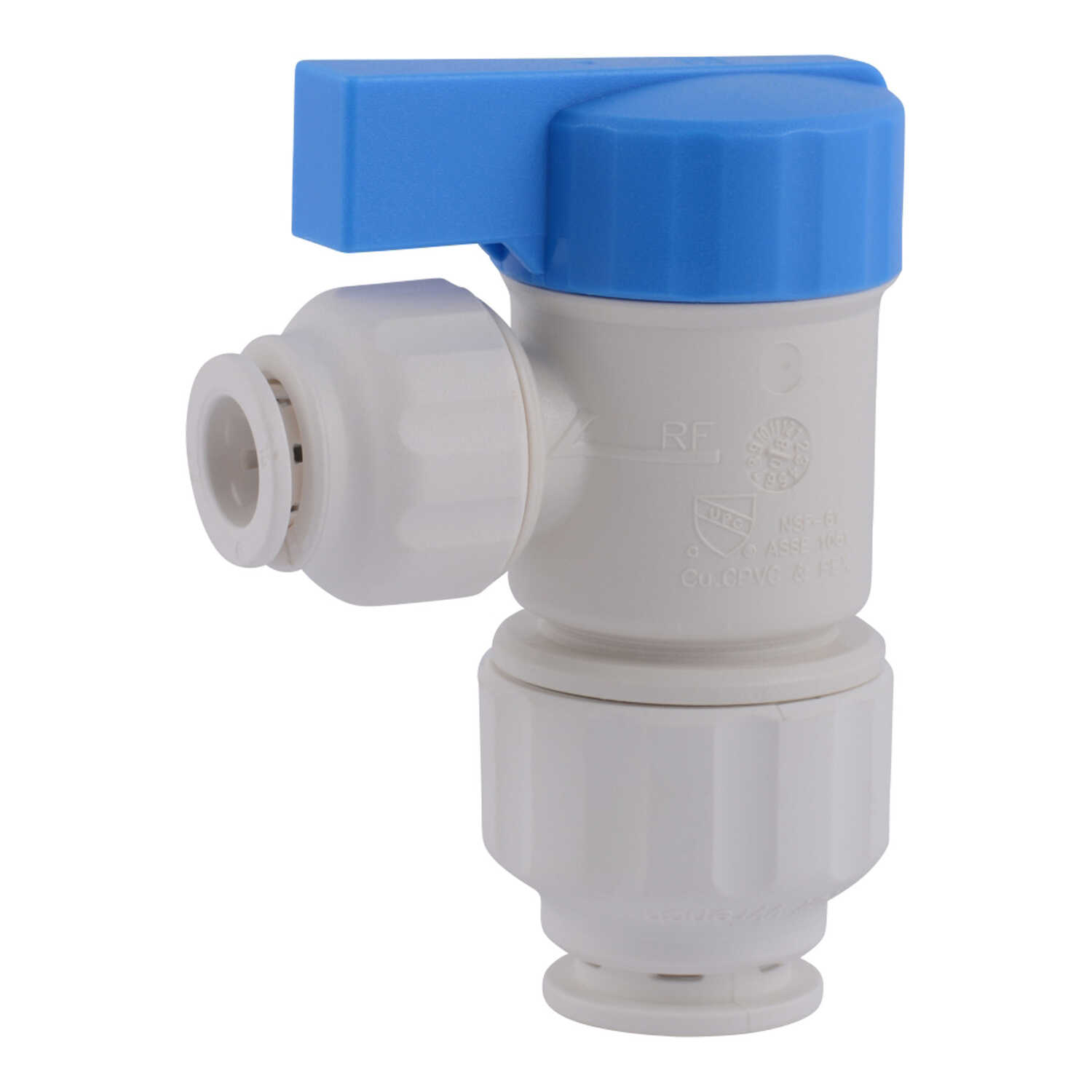 SharkBite  Quick Connect  1/2 in. Push   x 1/4 in. Dia. Push  Plastic  Angle Stop Valve