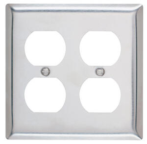 Pass & Seymour  Silver  2 gang Stainless Steel  Duplex Outlet  Wall Plate  1 pk