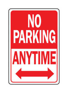 Hy-Ko  English  12 in. H x 18 in. W Sign  Aluminum  No Parking Anytime