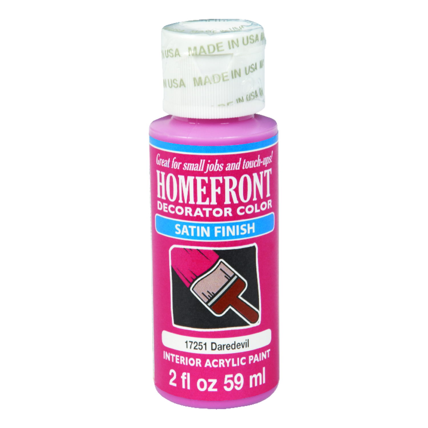 Homefront  Decorator Color  Satin  Daredevil  2 oz. Acrylic Latex  Hobby Paint
