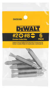 DeWalt  #2/#8 in.  x 2 in. L Phillips/Slotted  1/4 in. Heat-Treated Steel  6 pc. Double-Ended Screwd
