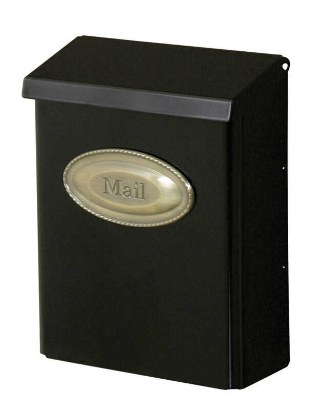 Gibraltar Mailboxes  Designer  Galvanized Steel  Wall-Mounted  Black  Lockable Mailbox  12-1/2 in. H