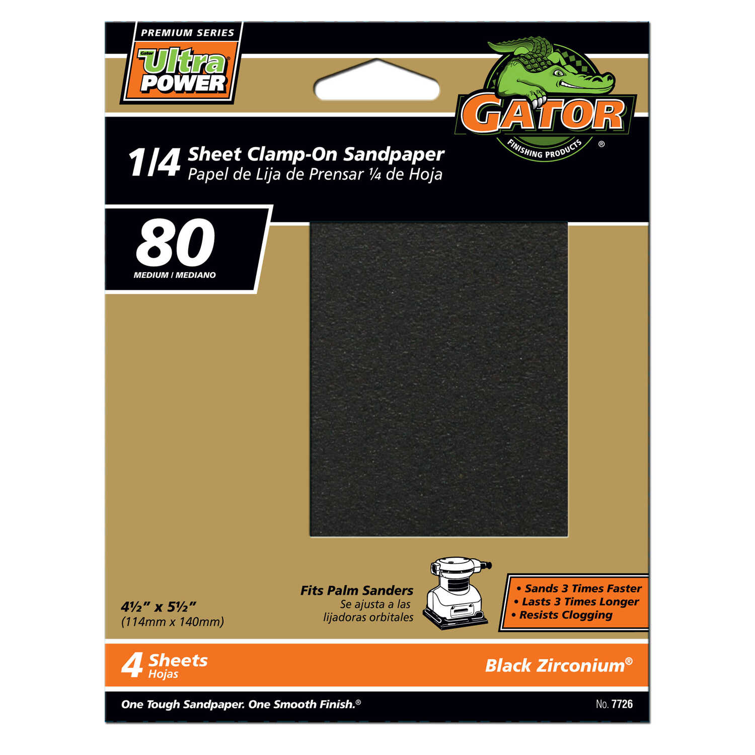 Gator  PowerPlus  5-1/2 in. L x 4-1/2 in. W 80 Grit Medium  Zirconium Oxide  1/4 Sheet Sandpaper  4
