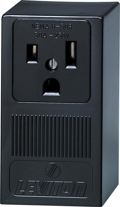 Leviton  50 amps 250 volt Black  Outlet  6-50R  1 pk