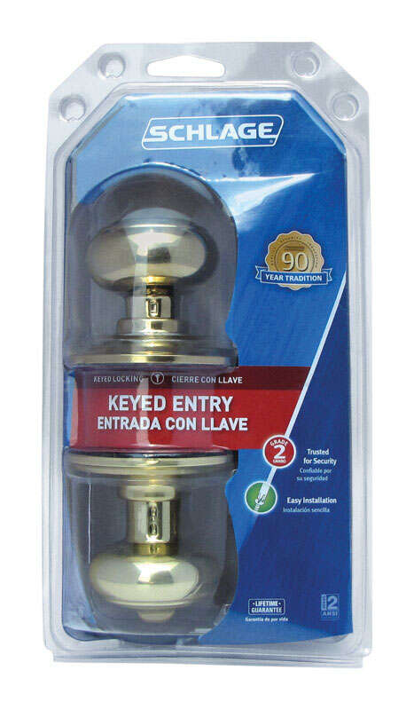 Schlage  Georgian  Bright Brass  Steel  ANSI Grade 2  Entry Lockset  1-3/4 in.