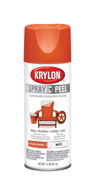 Krylon  Spray 'n Peel  Matte  Spray Paint  11 oz. Extreme Orange