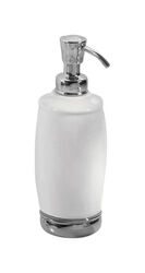 InterDesign  Soap Dispenser  8.25 in. H x 2.5  W x 2.5 in. L Chrome  White  Ceramic/Steel