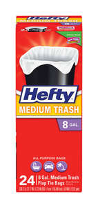 Hefty  8 gal. Trash Bags  Flap Tie  24 pk