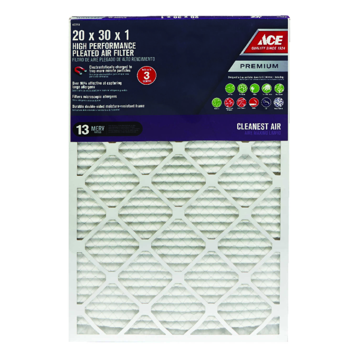 Ace  20 in. W x 30 in. H x 1 in. D Pleated  Pleated Air Filter