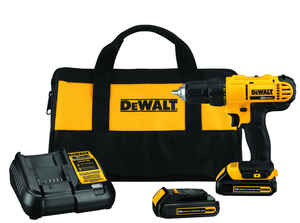 DeWalt  20 volt Brushed  Cordless Compact Drill/Driver  Kit  1/2 in. Single Sleeve Ratcheting  1500
