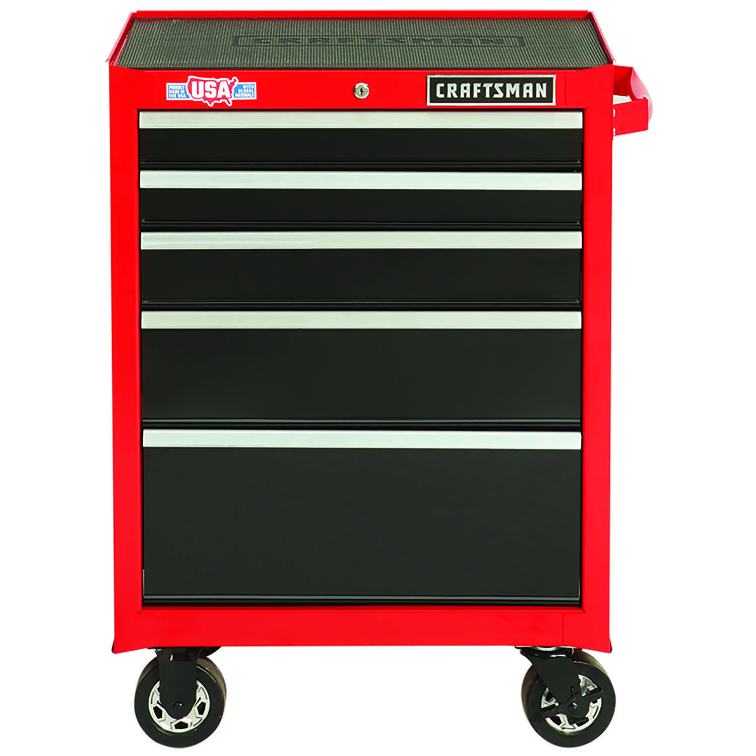 Craftsman 26.5 in. 5 drawer Metal Rolling Tool Cabinet 37.5 in. H x 18 in. D Black/Red