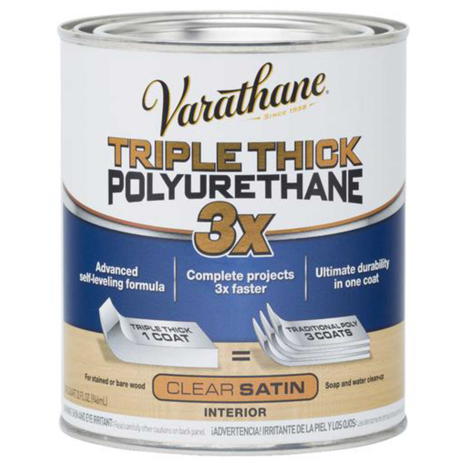 Varathane  Triple Thick  Transparent  Clear Satin  Stain  1 qt.