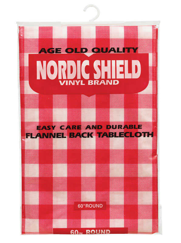Nordic Shield  4-1/3 in. L x 52 in. W Check Red  Non Adhesive  Flannel Back Vinyl Tablecloth