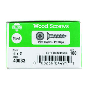 Hillman  No. 6   x 2 in. L Phillips  Flat Head Zinc-Plated  Steel  Wood Screws  100 pk