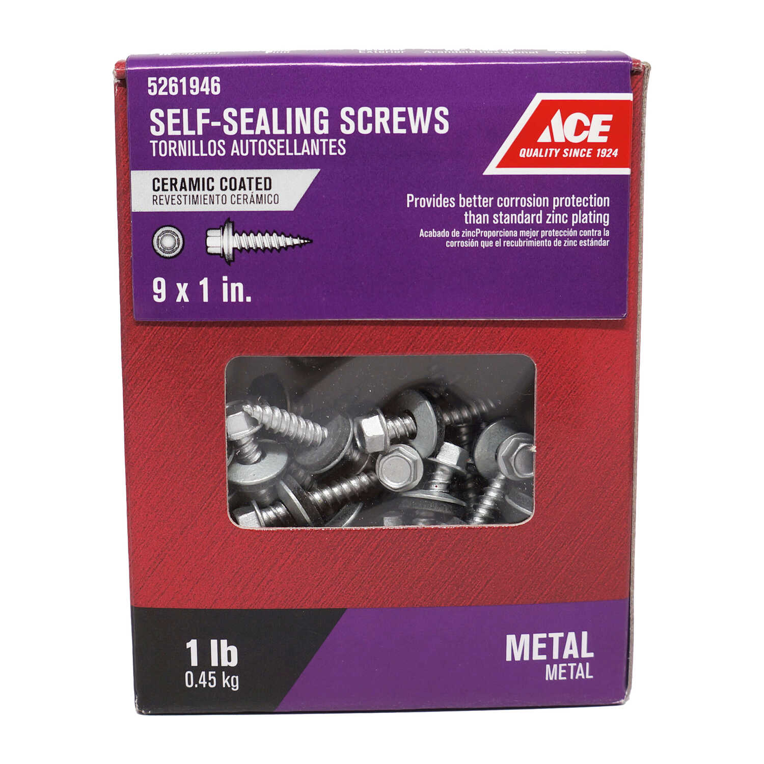 Ace  1 in. L x 9 Sizes  Hex Washer Head Steel  Self-Sealing Screws  1 lb. Ceramic