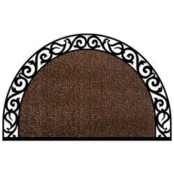 GrassWorx Wrought Iron 36 in. L x 24 in. W Coffee Bean Halfmoon Nonslip Door Mat