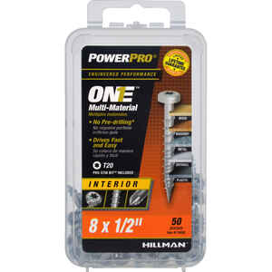 Power Pro  ONE  No. 8   x 1/2 in. L Star  Pan Head Steel  Multi-Material Screw  50 pk