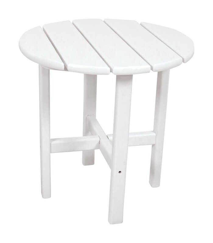 Ivy Terrace  White  Classic  Round  Plastic  End Table