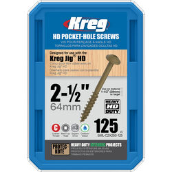 Kreg  No. 14   x 2 1/2 in. L Square  Zinc-Plated  Pocket-Hole Screw  125 count