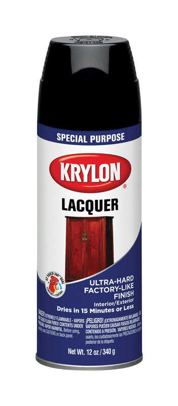 Krylon  Gloss  Black  Lacquer Spray Paint  12 oz.