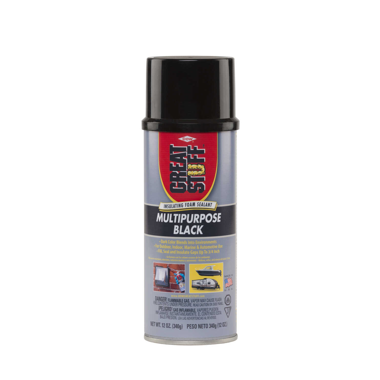 GREAT STUFF  Black  Polyurethane Foam  Insulating Sealant  12 oz.