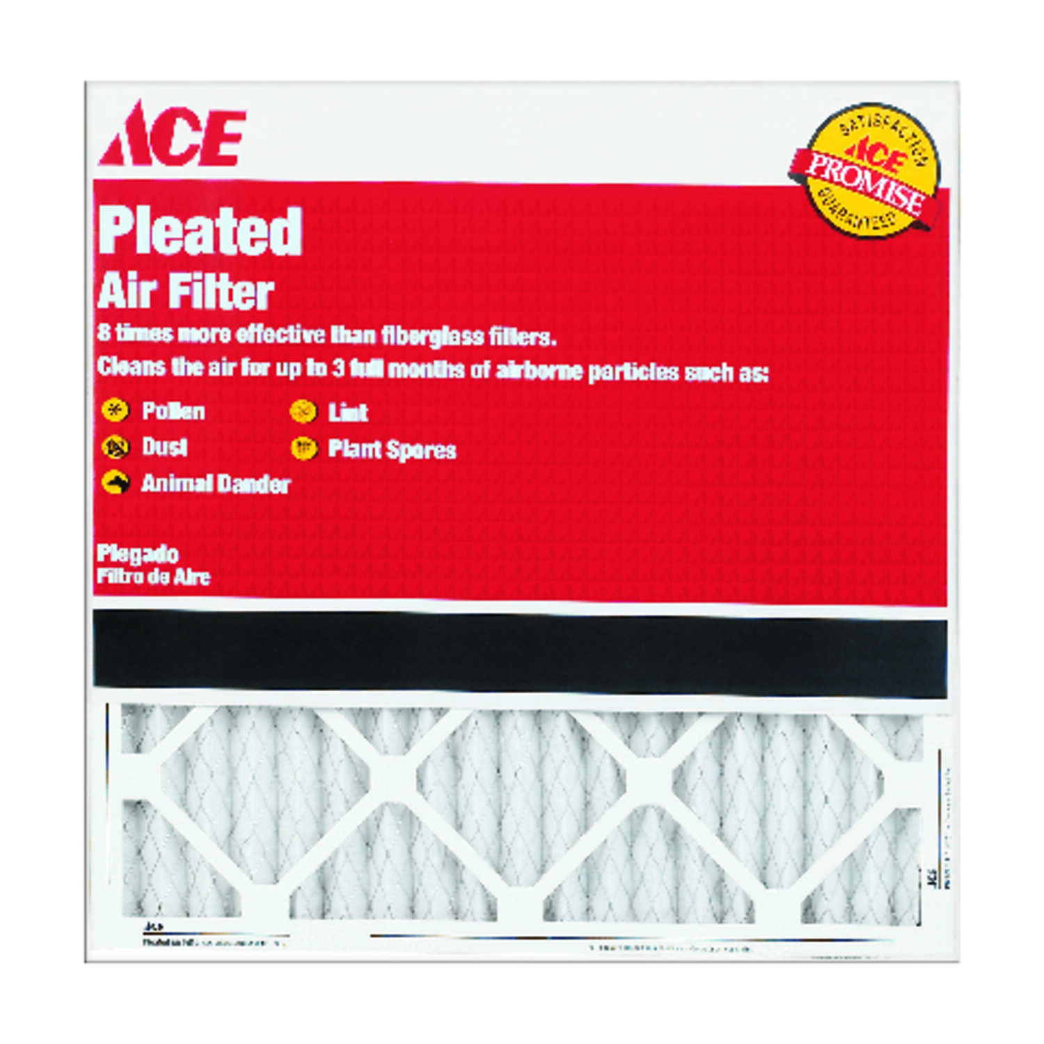 Ace  24 in. W x 30 in. H x 1 in. D Pleated  8 MERV Pleated Air Filter