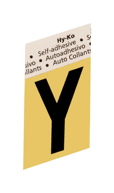 Hy-Ko  1-1/2 in. Black  Y  Aluminum  Self-Adhesive  Letter