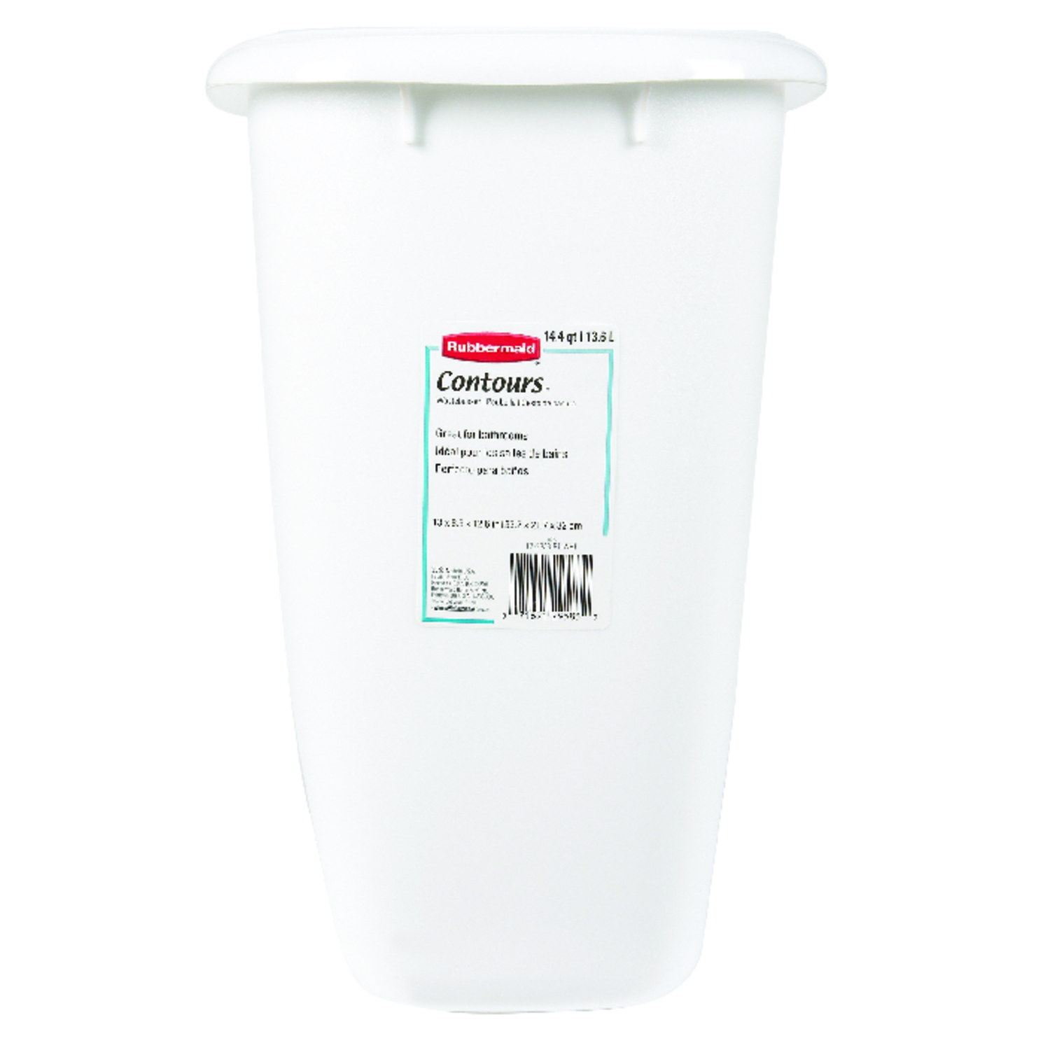 Rubbermaid  15 qt. White  Open Top  Wastebasket